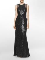Calvin Klein Sequined Mesh Gown
