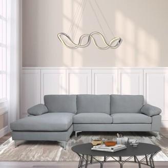 "Orren Ellis Afsa 103.5"" Wide Velvet Left Hand Facing Sofa & Chaise Fabric: Light Gray"