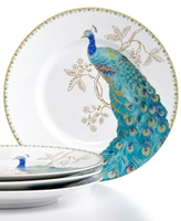 222 Fifth Set of 4 Peacock Garden Salad Plates