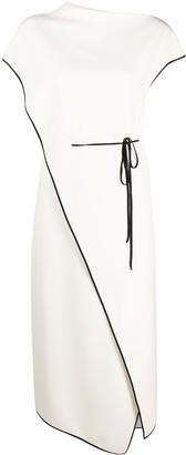 Theory Contrast Trim Tie-Detail Dress