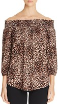 Cupio Off-The-Shoulder Animal Print Blouse