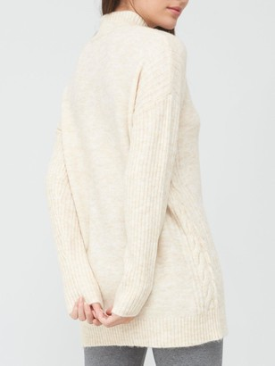 Very Turtle Neck Cable Side Detail Tunic - Stone