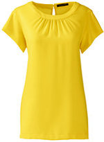 Classic Women's Petite Short Sleeve Shirred Blouse-Sunny Yellow