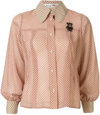 Tu es mon TRÉSOR sheer polka dot shirt