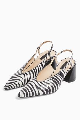 Topshop JAM Black and White Slingback Heels