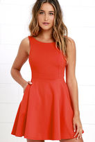 LuLu*s Wanderlust Orange Skater Dress