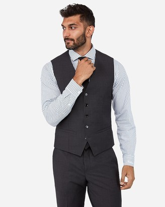 Express Charcoal Performance Stretch Wool-Blend Suit Vest