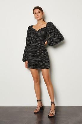 Karen Millen Spot Print Wrap Volume Sleeve Dress