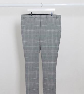 Burton Menswear Big & Tall slim suit pants in grey prince of wales check