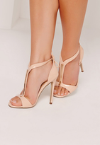 Missguided Gold Trim T-Bar Heeled Sandals Nude
