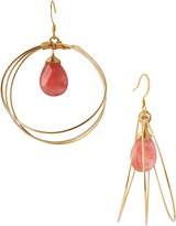 Susan Hanover Cherry Quartz-Drop Hoop Earrings