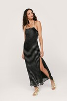 Thumbnail for your product : Nasty Gal Womens Polka Dot Tie Back Maxi Slit Dress - Black - 14