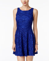Speechless Juniors' Lace Sequined Fit & Flare Dress