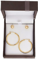 Lord & Taylor 14K Gold Stud and Hoop Earrings Set- 0.98in