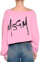 MSGM Off-the-Shoulder Sweatshirt w/ Logo at Back