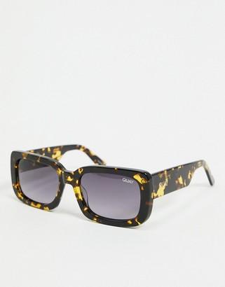 Quay Yada Yada women's slim square sunglasses in green tort