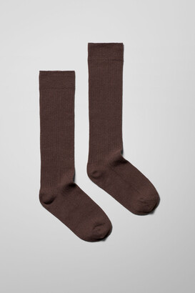 Weekday Selma Knee High Socks - Black