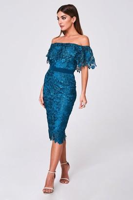 Paper Dolls Terran Teal Crochet-Lace Bardot Midi Dress