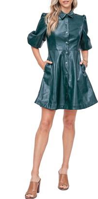En Saison Faux Leather Minidress