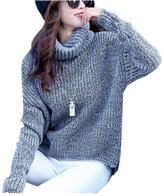 ARJOSA Women's Autumn Winter Thick Soft Turtleneck Long Sleeve Pullover Sweater Jumper (, Grey)
