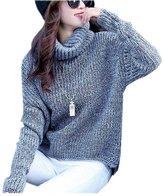 ARJOSA Women's Autumn Winter Thick Soft Turtleneck Long Sleeve Pullover Sweater Jumper (M, Pink)