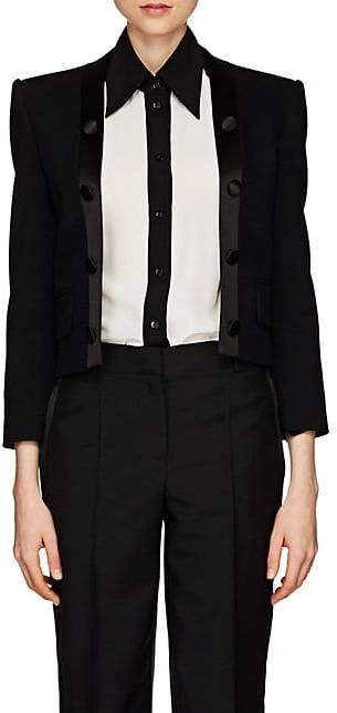 Givenchy Women's Satin-Trimmed Wool Twill Crop Blazer - Black