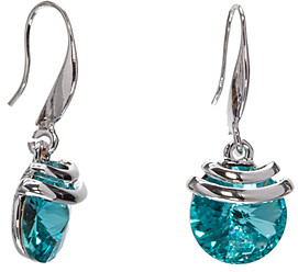 Swarovski callura Women's Earrings Light - Light Teal Spring Drop Earrings With Crystals