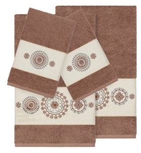 Linum Home Isabelle 4-Pc. Embroidered Turkish Cotton Bath and Hand Towel Set Bedding