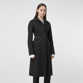 Burberry Pinstriped Technical Twill Reconstructed Car Coat
