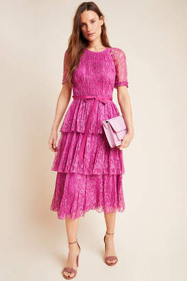 ML Monique Lhuillier Tiered Lace Midi Dress