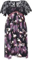 Giamba Flamingo Print V-neck Dress