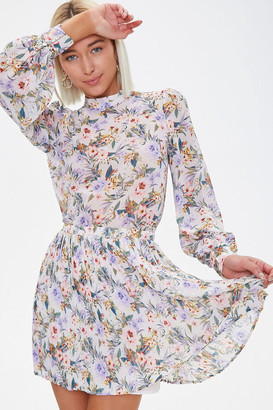 Forever 21 Floral Chiffon Top Skirt Set