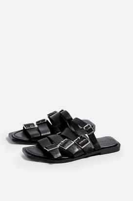 Topshop Womens Felix Leather Black Buckle Sandals - Black
