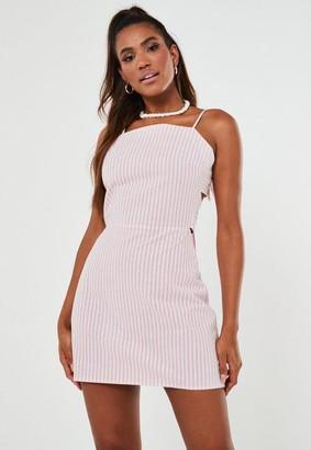 Missguided Stripe Cami Tie Back Mini Dress