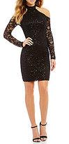 Sequin Hearts Cold-Shoulder Sequin Lace Sheath Dress