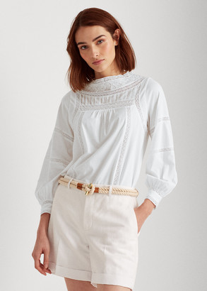 Ralph Lauren Lace-Trim Jersey Top