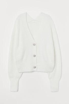 H&M Rhinestone-button Cardigan - White