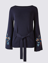 Per Una Tie Front Embroidered Sleeve Jumper
