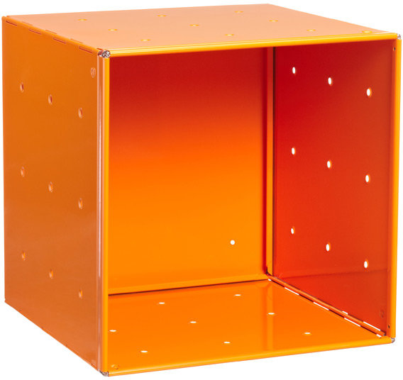 Container Store Orange Enameled QBO Steel Cube