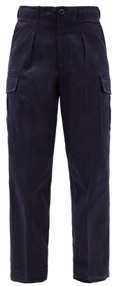 Myar - High-rise Pleated Cotton-blend Cargo Trousers - Womens - Navy