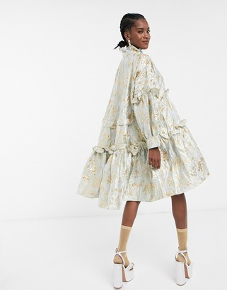 Sister Jane oversized midi smock dress with tiered skirt in bright floral