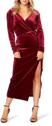 Bardot Morgan Long Sleeve Velvet Faux Wrap Dress