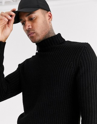 Bershka chunky knitted roll neck jumper in black