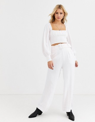 Capulet kaia wide leg belted pants-White