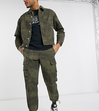 Reclaimed Vintage inspired cargo pants in washed khaki with toggles