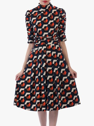 Jolie Moi Geometric Print Turtleneck 3/4 Sleeve Dress, Navy/Orange