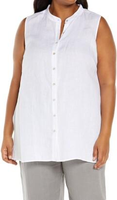 Eileen Fisher Mandarin Collar Boxy Organic Linen Sleeveless Shirt