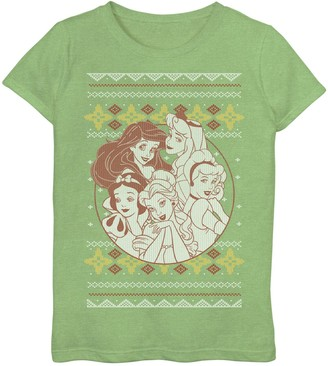 Marvel Girls 7-16 Disney Princess Ugly Christmas Sweater Graphic Tee