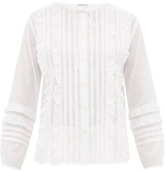 Queene and Belle Ashley Ruffled And Pleated Cotton Blouse - White