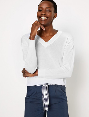 Marks and Spencer Pure Cotton V-Neck Relaxed Jumper